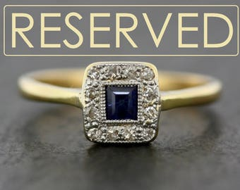 RESERVED - Art Deco Sapphire Ring - Antique Sapphire & Diamond Art Deco Engagement Ring - Sapphire Engagement Ring