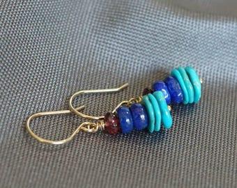 Sleeping Beauty natural turquoise earrings, Lapis earrings, Hessonite garnet earrings, lapis jewelry, garnet jewelry gift, turquoise jewelry