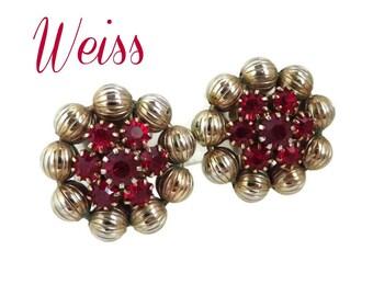 Vintage Earrings - Weiss Red Rhinestone Earrings, Ruby Rhinestone Gold Tone Flower Signed Designer Clip-on Earrings