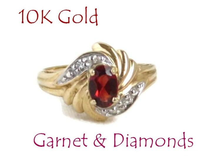 Garnet - 10K Gold Garnet, Diamond Ring, Vintage Yellow Gold Cocktail Ring, Size 6