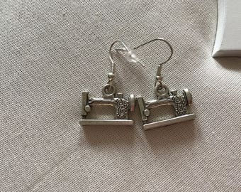 Singer sewing machine silver coloured earrings end of line