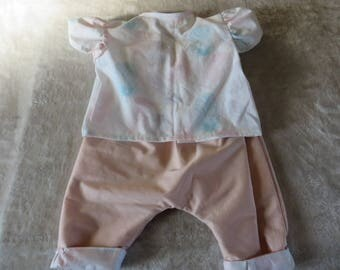 Saroeul and blouse with feathers in pastel colors (6-9 months)
