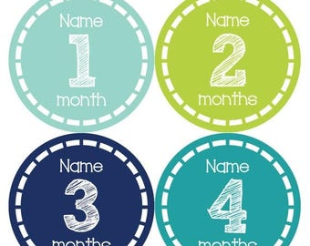 PERSONALIZED Baby Boy Month Stickers Monthly 12 Month Sticker Monthly Baby Stickers Baby Shower Gift Photo Prop Milestone Sticker 478