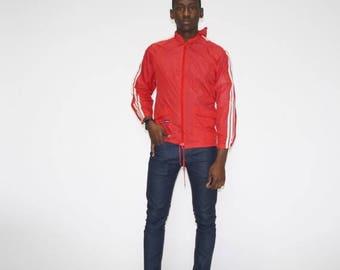 FINAL SALE - Rare Vintage 1970s Adidas Red Trefoil Windbreaker - Vintage Adidas Rain Jacket - Retro Adidas Jackets - MO0412