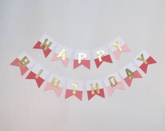 Gold Foil Birthday Banner (Red, Pink and Coral)