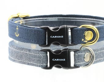 Summer Blues Cat Collar with Breakaway Safety Buckle - Denim, Gold Anchors - Kitten Size Available