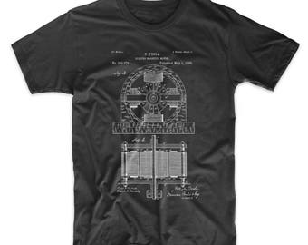 Tesla Electro Motor Patent Shirt, Electric Magnetic Motor T Shirt, Tesla Shirt, PP0173