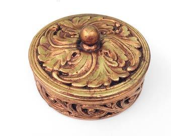 Vintage Ceramic Jewelry Box Hollywood Regency Freeman McFarlin Potteries California Trinket Box 1960s