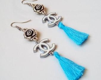 Chanel earrings with light blue tassels