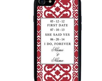 Wedding Phone Case, Personalized, Engagement, iPhone 5 5s 6 6s 6+ 6s+ SE 7 7+ iPod 5 6 Case, Plus
