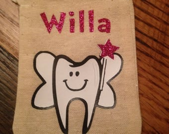 Personalized Custom Tooth Fairy Tooth Pouch Tooth Bag with Tooth Chart and poem