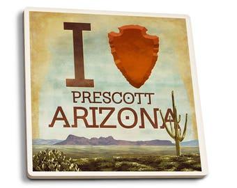 I heart Prescott Arizona - Lantern Press Artwork (Set of 4 Ceramic Coasters)