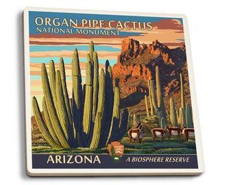 Organ Pipe Cactus National Monument, AZ LP Artwork (Set of 4 Ceramic Coasters)