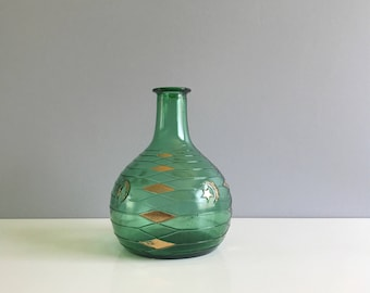 Green Italian Glass Decanter Bottle