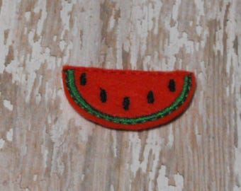 Watermelon Slice felties, feltie, machine embroidered, felt applique, felt embellishment, hair bow center,felt planner clip,felt badge reel