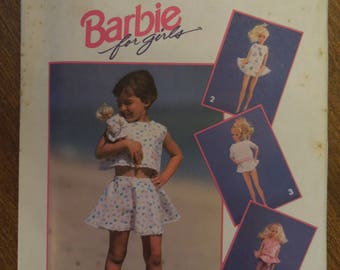 Simplicity 8388, sizes 2-4, childrens, girls, top, skirt, shorts and Barbie doll clothes, UNCUT sewing pattern, craft supplies