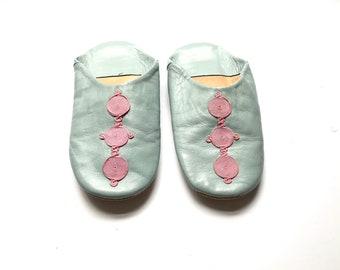 Moroccan Leather Slippers. Moroccan Leather Babouches. Blue Leather Babouches. Women Leather Slippers. Boho Shoes. US 6.5 UK 4 EUR 37