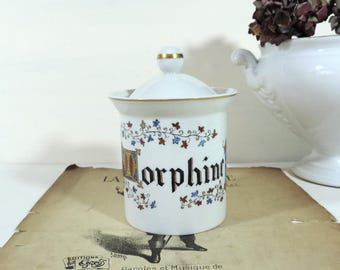 French Vintage Morphine Apothecary Jar/Vintage Morphine Apothecary Jar/ Limoges Porcelain Morphine Apothecary Jar/Morphine Pharmacy Pot