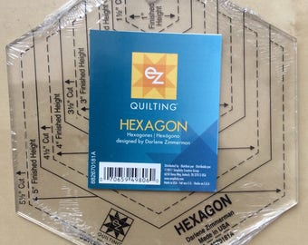EZ Easy Quilting Hexagon Quilt Ruler Template designed by Darlene Zimmerman