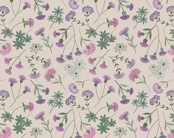 A239-1 Celtic Blessings Thistle Floral on Cream Lewis & Irene Patchwork Quilting Fabric