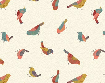 A253.1 - Hedgerow Birds On Cream Lewis & Irene Patchwork Quilting Dressmaking Fabric