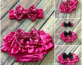 Baby girl clothes, hot pink baby bloomer, ruffle diaper cover, infant girl bloomer, 1st birthday, pink bloomer, baby girl headband