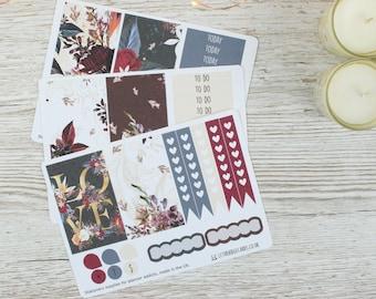Dark Flowers Big Happy Planner Kit; Weekly Kit; TN Kit; Planner Stickers; Mambi; Mini Kit; Valentines Stickers;Feb Weekly Kit