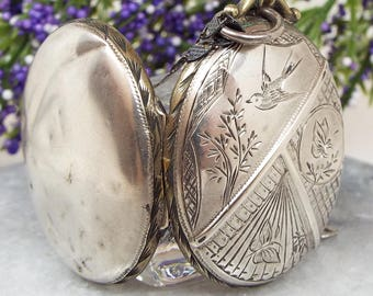 Antique Victorian Sterling Silver Engraved Bird and Butterfly Locket Necklace