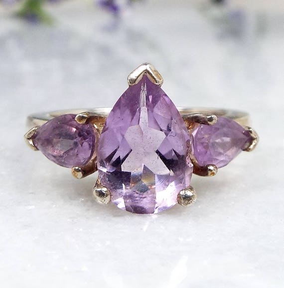 Vintage / Sterling Silver Pretty Purple Amethyst Trilogy Ring / Size K