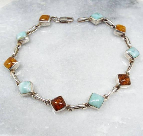 Vintage / Sterling Silver Genuine Turquoise and Amber Cabochon Link Bracelet 925