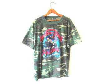 Vintage STURGIS Mount Rushmore Motorcycle Rally Broken Spoke Saloon South Dakota  CAMO Tshirt Sz XL