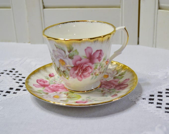 Vintage Royal Winchester Teacup and Saucer Pink Rose Flowers Gold Details England Bone China PanchosPorch
