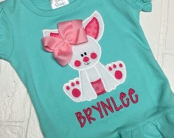 Girl Easter Bunny Applique Shirt-girls easter shirt- easter bunny shirt - my first easter shirt