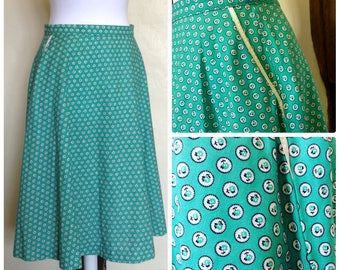 Vintage M&S Skirt - Retro 50's Style - 80's Skirt - Green - Floral Print - Size 12-14
