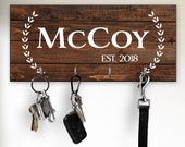 Rustic Key Holder for Wall, Personalized Key Rack, Modern Farmhouse Wall Decor, Unique Housewarming or Wedding Gifts, Name Signs for House