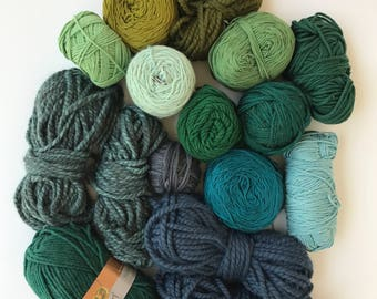 Deluxe Yarn Sampler // Curated Yarn Bundle // Weaving Crafting School Home Projects Party Decor // Green Multi Pack // Stash Sale