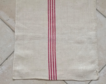 NS1807 Red Stripe Twill Natural Sandstone Vintage Linen Grainsack