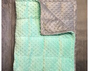 Grey/opal minky weighted blanket 35X40 & 40X60 anxiety, sensory, autism