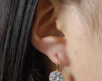 Gold CZ Drop Hoop Earrings Round Cubic Zircona Type 2 - Gold plated over Sterling Silver