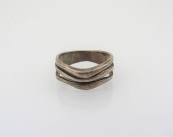 Vintage Sterling Silver Swirly Band Ring Size 6.5
