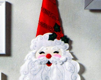 Bucilla Holly Jolly Santa ~ Felt Christmas Wall Hanging Kit #86834, Claus, 2017, DIY