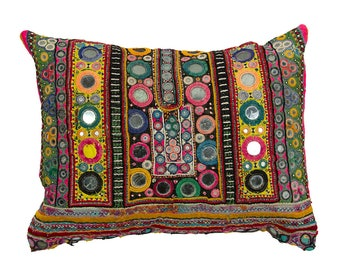 Embroidered Rajasthani CUSHION COVER with pad – Design 2 – 33 x 43 – Cotton and Couched Metal Embroidery