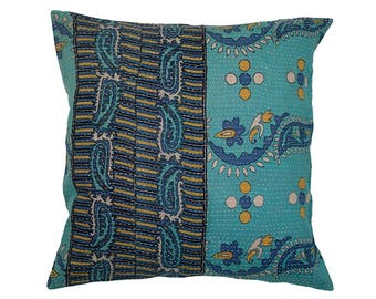 Kantha Cushion Cover - Blue and Turquoise - Large - 50cm x 50cm (19.7 inches x 19.7 inches)
