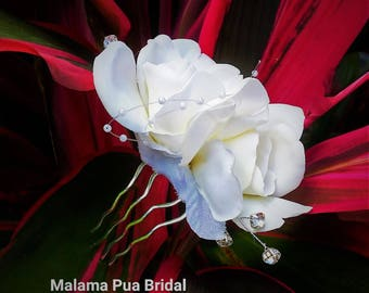 BRIDAL Hair comb, Real Touch Gardenia, Custom Headpiece, Hair flowers, Wedding Hair piece, Flower fascinator, Tropical Flower,Hair Accessory