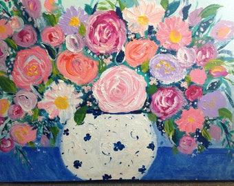 "New work! "" joyful flowers""  , original painting  roses , peonies , blue ginger vase  still life painting 18 x 24"
