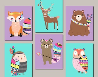 Girl Woodland Nursery Decor - Girl Nursery Wall Art -  Tribal Woodland Animals - Baby Animals - Tribal Nursery - Set Of 6 Prints Or Canvas