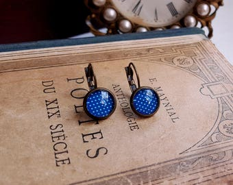 Leverback Cabochon earrings Gift under 10 Blue earrings Polka dots print