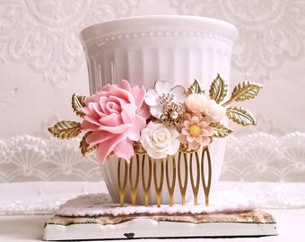 Antique gold Bridal comb Baby pink and white roses Decorative comb Pink flower wedding comb