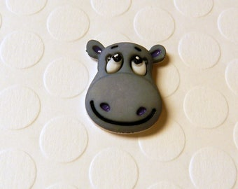Happy Hippo Lapel Pin Brooch Flair Tie Tack Hat Pin