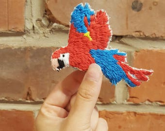 Hand Embroidered Macaw Brooch